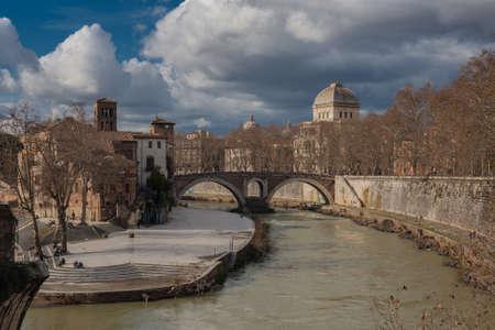 oldest: View on oldest Roman bridge Pons Fabricius ( Ponte dei Quattro Capi) Stock Photo