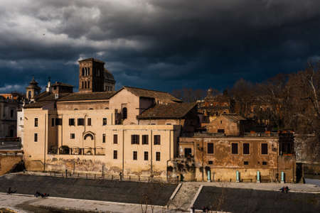 architectural architectonic: Old town of Rome with typical roman buildings