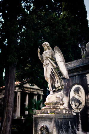 Beautiful old statue of angel on cemetery
