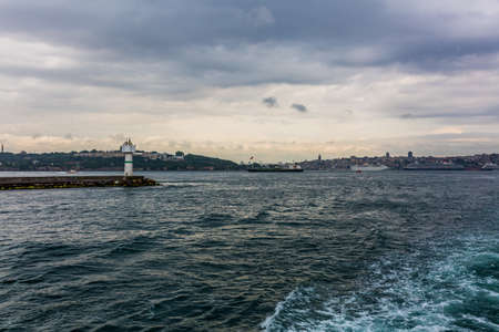 seaway: View from ferry boat in stormy day in Istanbul, Turkey