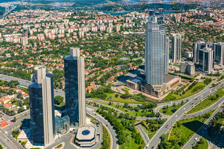 residences: ISTANBUL, TURKEY - JUNE 20: Zincirlikuyu District in istanbul. Skyscrapers,mall and residences in Zincirlikuyu on June 20, 2015 in Istanbul, Turkey Editorial