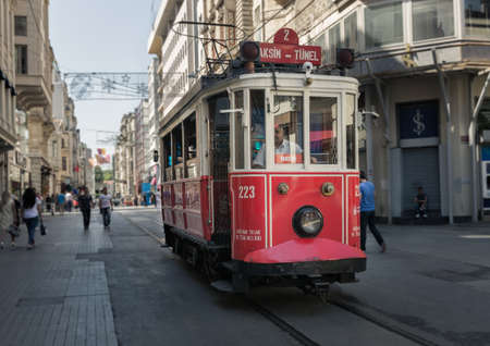tunel: ISTANBUL, TURKEY - JUNE 20: The Taksim Tunel Nostalgia Tram on June 20, 2015 in Istanbul, Turkey