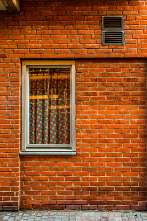 colorful house exterior, vintage windows in Malmo, Sweden