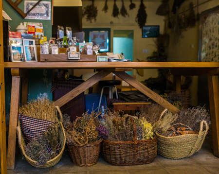 Showcases village shop with herbs