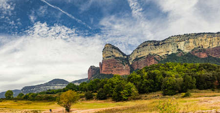 Beautiful mountains landscape banner with vivid colors.