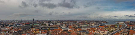 Beautiful top view panoramic of Copenhagen roofs, Denmark from above