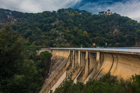 Scenic panoramic view on water dam in Barcelona