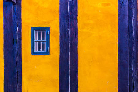 single dwellings: colorful house exterior, vintage windows in Malmo, Sweden