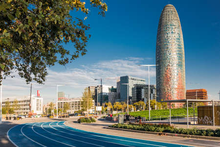 BARCELONA, SPAIN - OCTOBER 22, 2015: View of the Agbar Tower and the Museum of Design in Barcelona, Spain