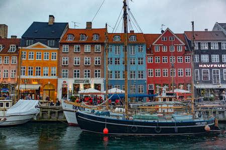 COPENHAGEN, DENMARK - NOVEMBER 7,2015: Color buildings of Nyhavn in Copenhagen, Denmark Editorial