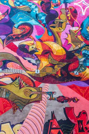 Malmö, Zweden - 8 november 2015: kleurrijke abstracte graffiti op de muur in Malmö, Zweden