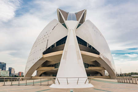valencian: VALENCIA, SPAIN - SEPTEMBER 26, 2015: huge buildings of City of Art and Science Museum.View on Valencian Institute of Modern Art
