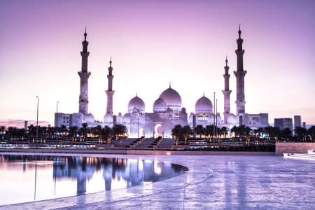 Sheikh Zayed Grand Mosque in Abu Dhabi from wahat al karama with sunset