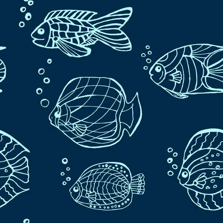 fish pattern: hand drawn fish pattern picture Illustration