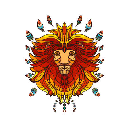 ethnic style: lion in ethnic style picture Illustration