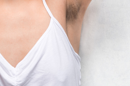 not shaved female armpit close-up. concept bodi positive. acceptance of oneself
