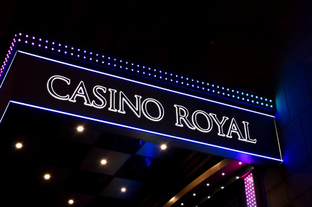 MINSK, BELARUS - December 10, 2018: casino inscription with a blurred background of the night city