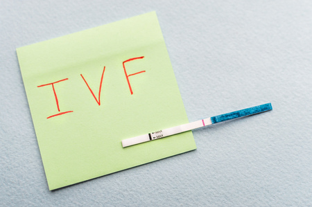 Pregnancy test with one strip and the inscription ivf