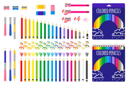 Set of vector cartoon illustrations with colored pencils, pencil sharpener and eraser on white background. Back to school.