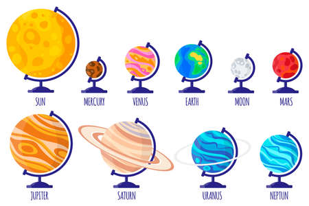 Set of vector cartoon illustrations with desktop school globes of planets of the solar system: Mercury, Venus, Earth, Mars, Jupiter, Saturn, Uranus, Neptune, Moon on white background. Back to school. Vector Illustratie