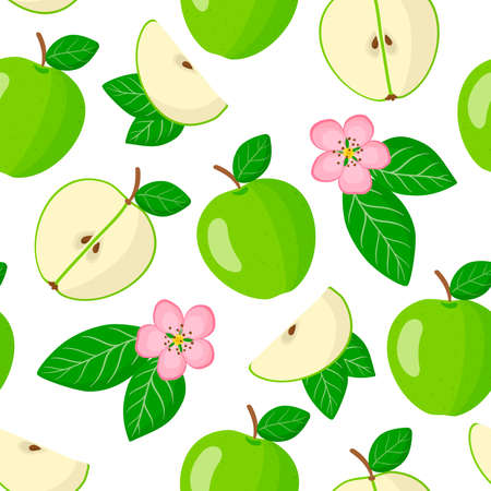 Vector cartoon seamless pattern with Malus domestica or Green apple exotic fruits, flowers and leafs on white background for web, print, cloth texture or wallpaper Vettoriali