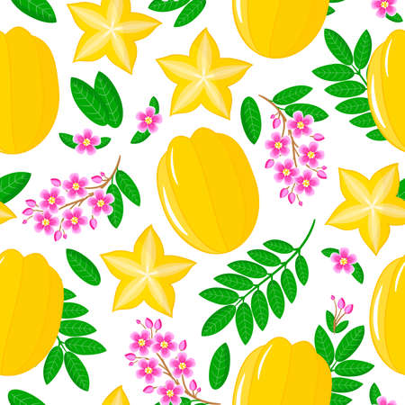Vector cartoon seamless pattern with Averrhoa carambola or star fruit exotic fruits, flowers and leafs on white background for web, print, cloth texture or wallpaper