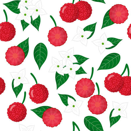 Vector cartoon seamless pattern with Cornus capitata or Strawberry tree exotic fruits, flowers and leafs on white background for web, print, cloth texture or wallpaper