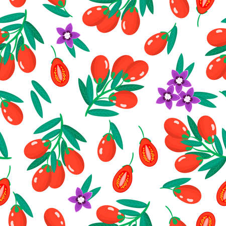 Vector cartoon seamless pattern with Lycium barbarum or Goji exotic fruits, flowers and leafs on white background for web, print, cloth texture or wallpaper