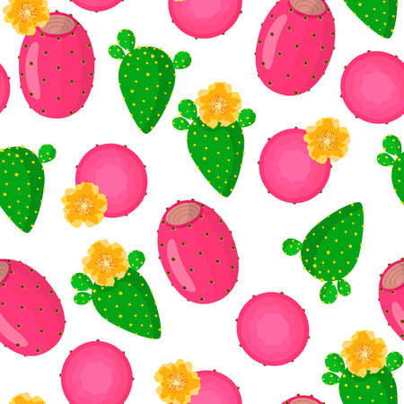 Vector cartoon seamless pattern with Opuntia ficus-indica or Indian figs exotic fruits, flowers and leafs on white background for web, print, cloth texture or wallpaper