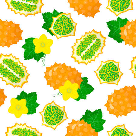 Vector cartoon seamless pattern with Cucumis metuliferus or Kiwano exotic fruits, flowers and leafs on white background for web, print, cloth texture or wallpaper