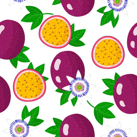 Vector cartoon seamless pattern with Passiflora edulis or Passion fruit exotic fruits, flowers and leafs on white background for web, print, cloth texture or wallpaper Иллюстрация