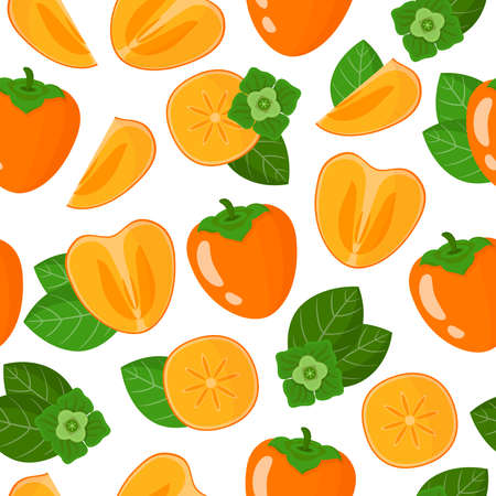 Vector cartoon seamless pattern with Diospyros or Persimmon exotic fruits, flowers and leafs on white background for web, print, cloth texture or wallpaper