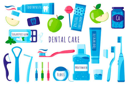 Vector cartoon set of dental tools for oral and teeth care: toothbrush, toothpaste, dental floss, mouthwash, sugar-free gum, apple, etc on white background. Dental concept.