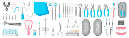 Vector cartoon set of dental therapeutic, surgical and care tools for dental treatment in a stomatological clinic on a white background. Dental concept.