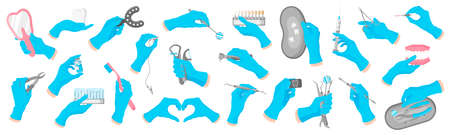 Vector cartoon set of hands of a dentist in blue gloves that hold dental therapeutic, surgical and care tools on a white background. Dental concept. Vettoriali