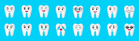 Vector cartoon set of cute characters of teeth with different emotions: happy, sad, crying, joyful, smiling, laughing, etc. Childrens dental concept.  イラスト・ベクター素材
