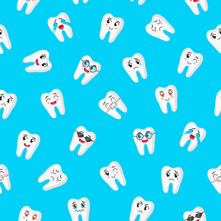 Vector cartoon seamless pattern with cute teeth characters with different emotions for web, print, cloth texture or wallpaper. Childrens dental concept.  イラスト・ベクター素材