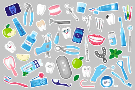 Set of vector cartoon illustrations of stickers with medical dental therapeutic, surgical and care tools for dental treatment, oral cavity and teeth care. Dental concept.