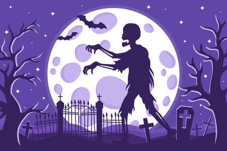 Vector cartoon illustration of Halloween zombie silhouette in a cemetery on a background of the full moon, stars and bats. Halloween holiday concept.