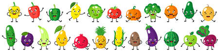 Vector cartoon set of cheerful cute fruits and vegetables characters with different poses and emotions isolated on white background. Childrens illustration concept.