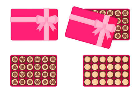 Rectangular pink box of chocolates for Valentine's Day. Vector flat design isolated on white background.