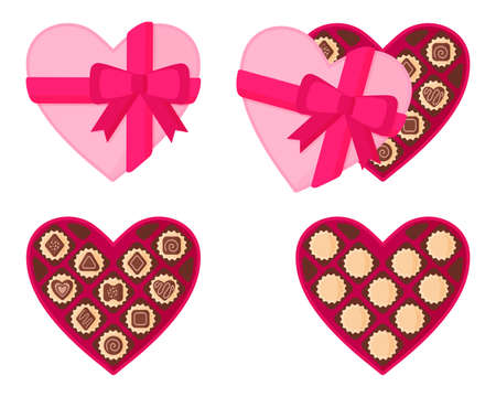 Heart-shaped pink box of chocolates for Valentine's Day. Vector flat design isolated on white background.  イラスト・ベクター素材