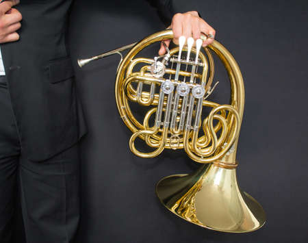Musical instrument french horn closeup