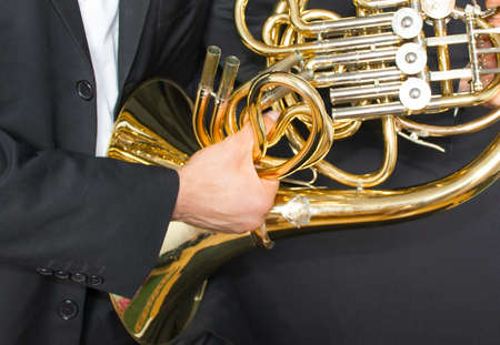 Musical instrument french horn Фото со стока