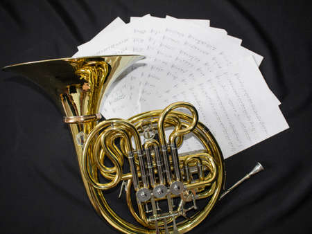 French horn on black screen