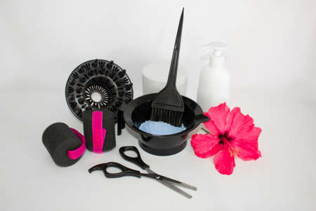 Hair color kit with accessories and scissors Фото со стока