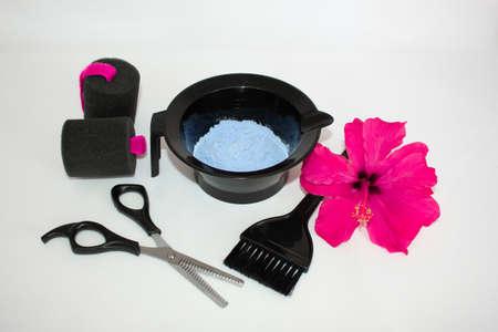 Hair color kit with scissors Фото со стока