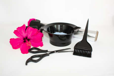 Hair color kit with flower