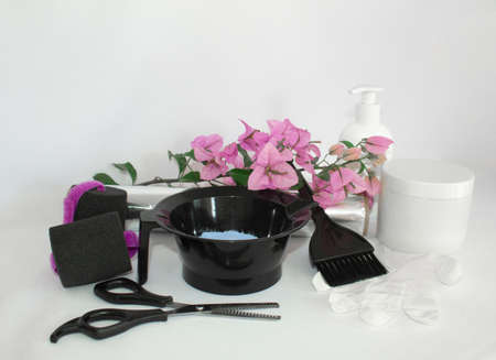 Hair color kit with flowers