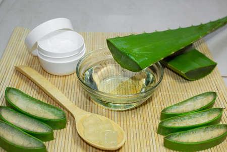 Aloe vera treatment kit with liquid Banco de Imagens